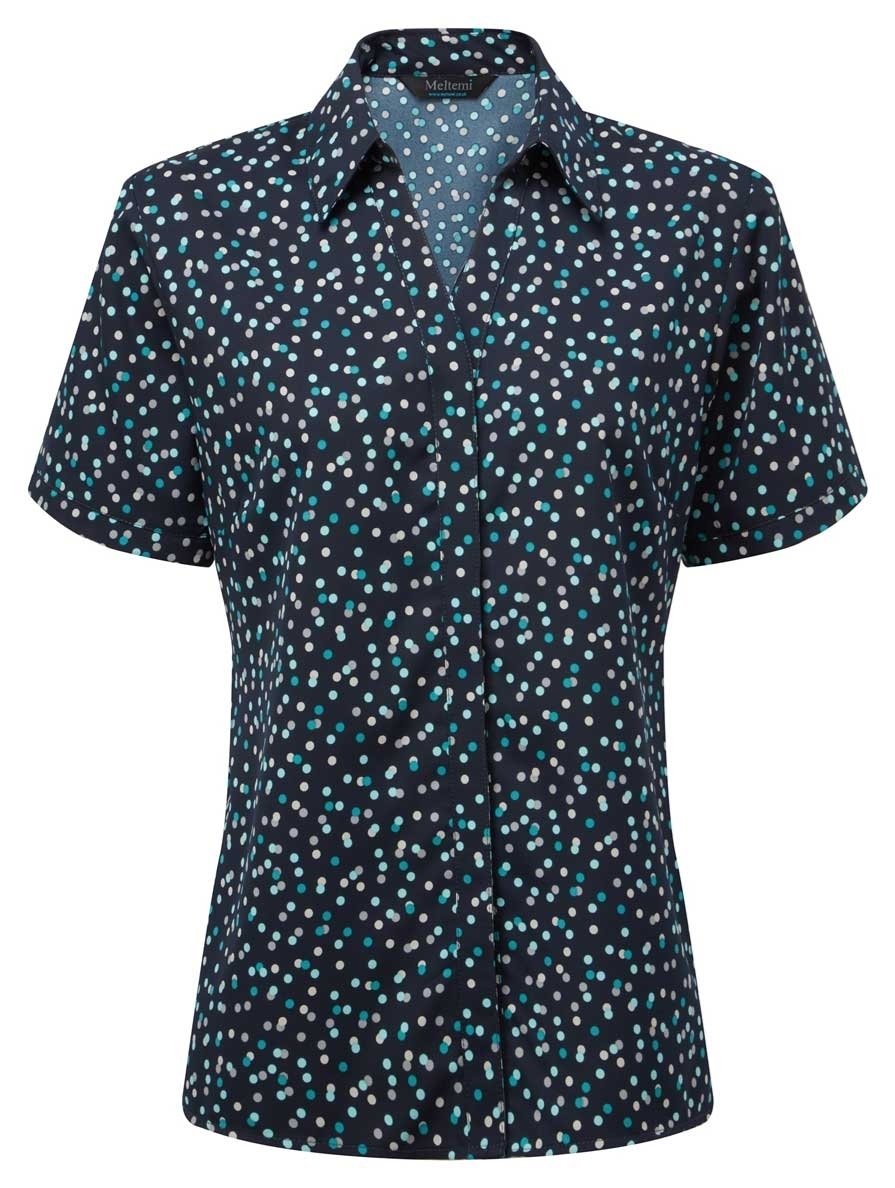 Picture of Looser Style CoolWeave Blouse - Navy/Teal/Grey Print
