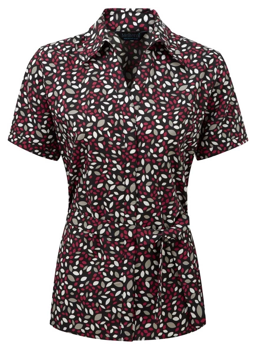 Picture of Looser Style Coolweave Blouse - Black/Cerise Lauren Print