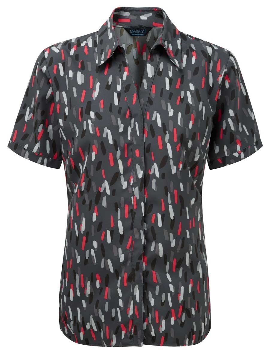 Picture of Looser Style Coolweave Blouse - Grey/Red Amelia Print