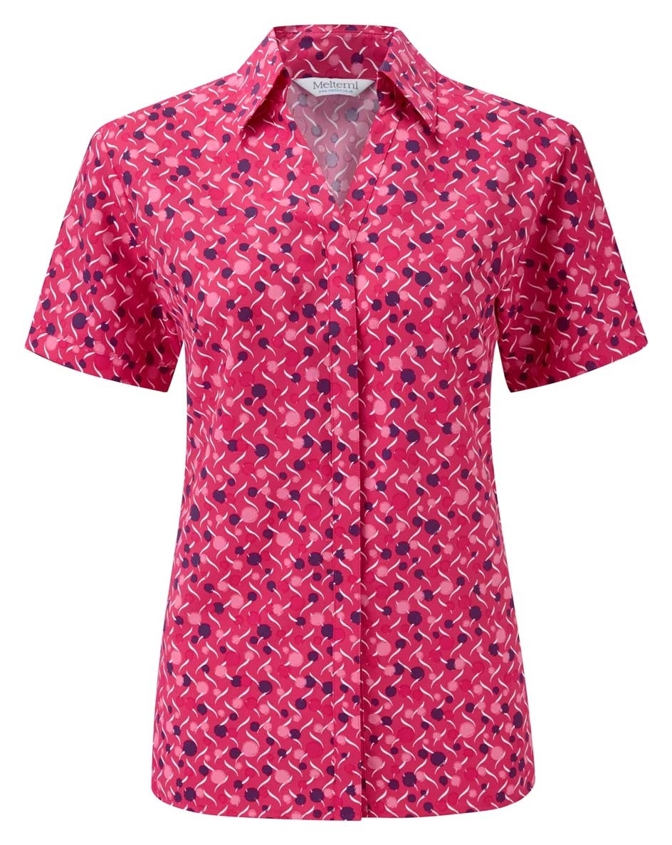 Picture of Looser Style Coolweave Blouse - Cerise/Amethyst Chloe Print