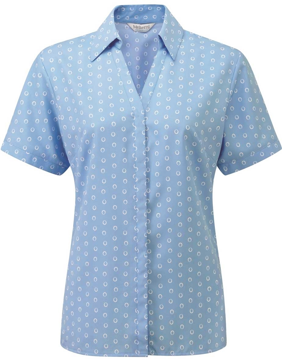 Picture of Looser Style Coolweave Blouse - Light Blue/White Ella Print
