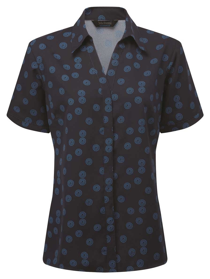 Picture of Looser Style CoolWeave Blouse - Navy/Blue Sienna Print