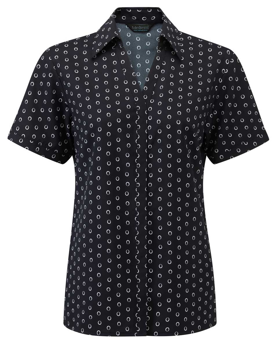 Picture of Looser Style Coolweave Blouse - Navy/White Ella Print