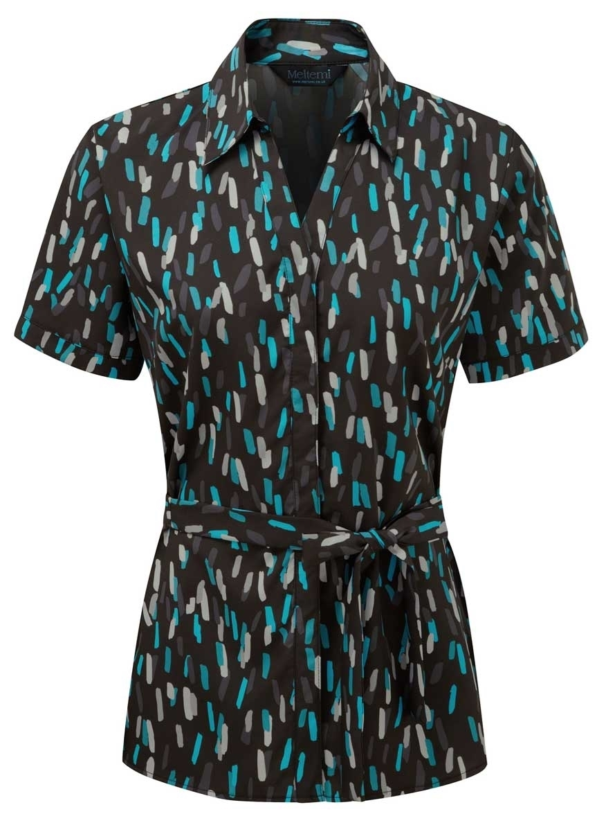 Picture of Looser Style Coolweave Blouse - Black/Turquoise Amelia Print