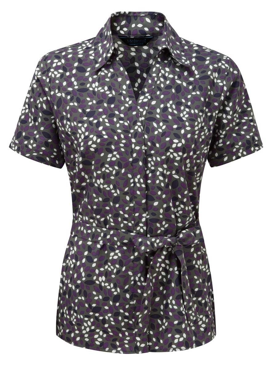 Picture of Looser Style Coolweave Blouse - Grey/Amethyst Lauren Print