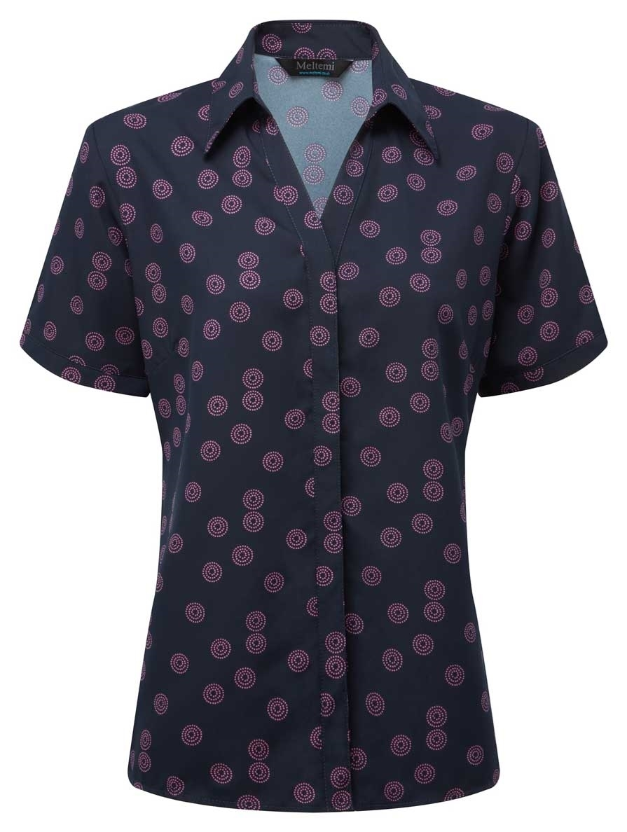 Picture of Looser Style CoolWeave Blouse - Navy/Pink Sienna Print