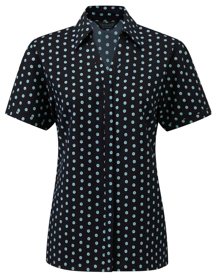 Picture of Looser Style Coolweave Blouse - Navy/Aqua/White Ella Print