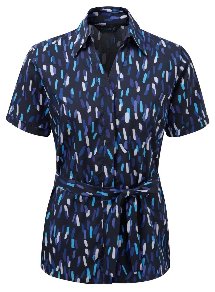 Picture of Looser Style Coolweave Blouse - Navy/Blue Amelia Print