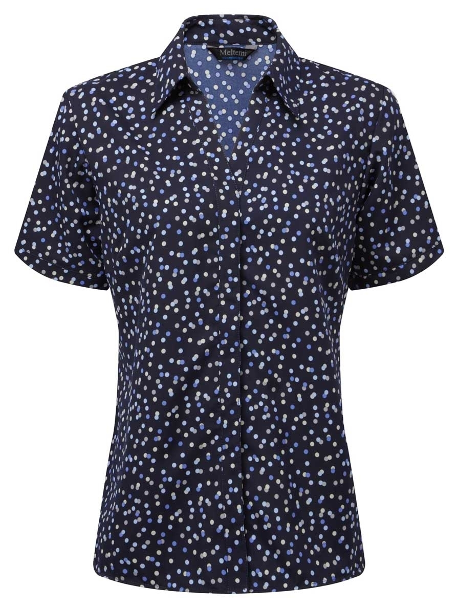 Picture of Looser Style CoolWeave Blouse - Navy/Lavender/Grey Print