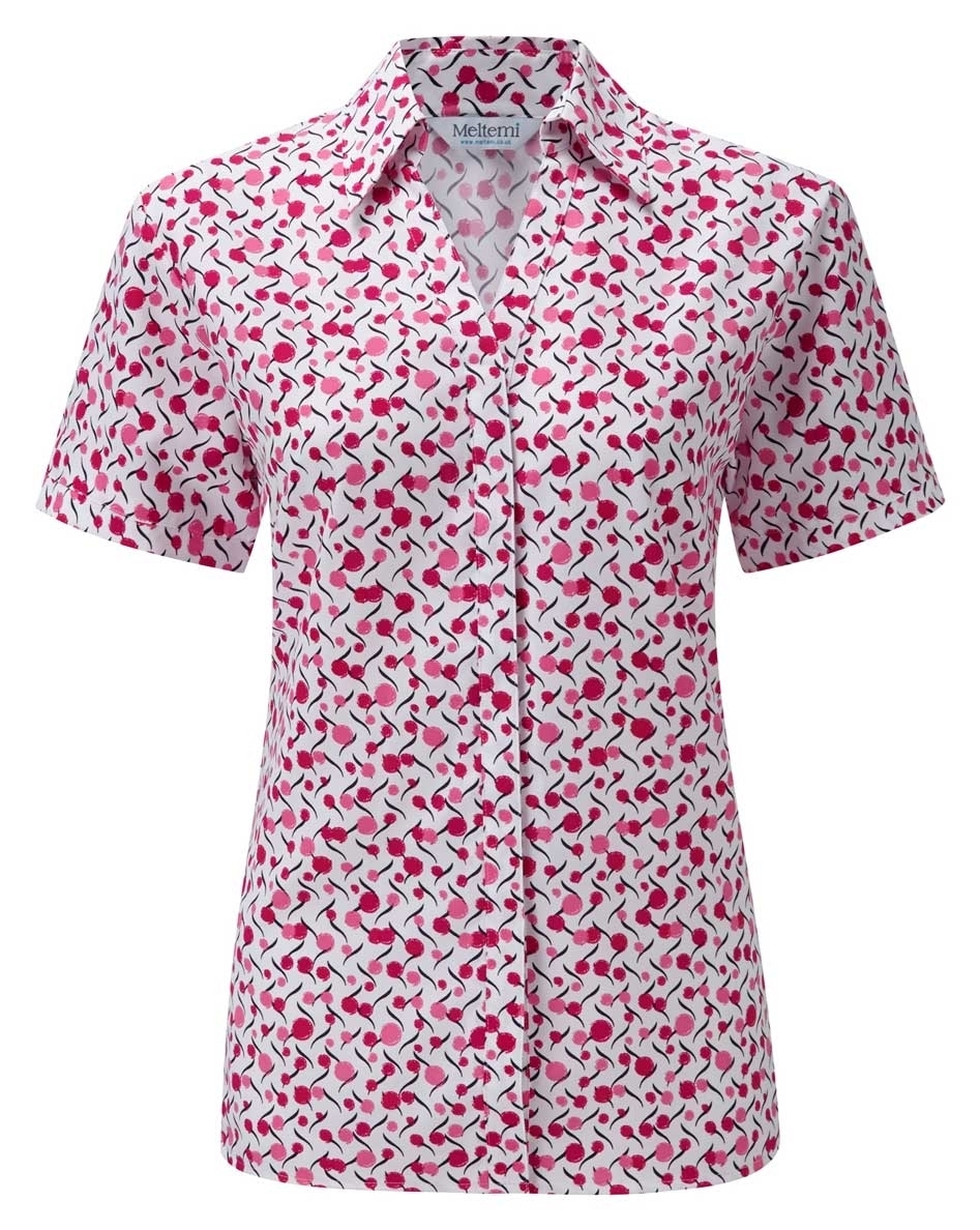 Picture of Looser Style Coolweave Blouse - White/Cerise Chloe Print