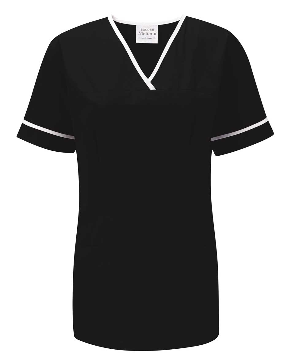 Picture of Female Smart Scrub Tunic - Black/White