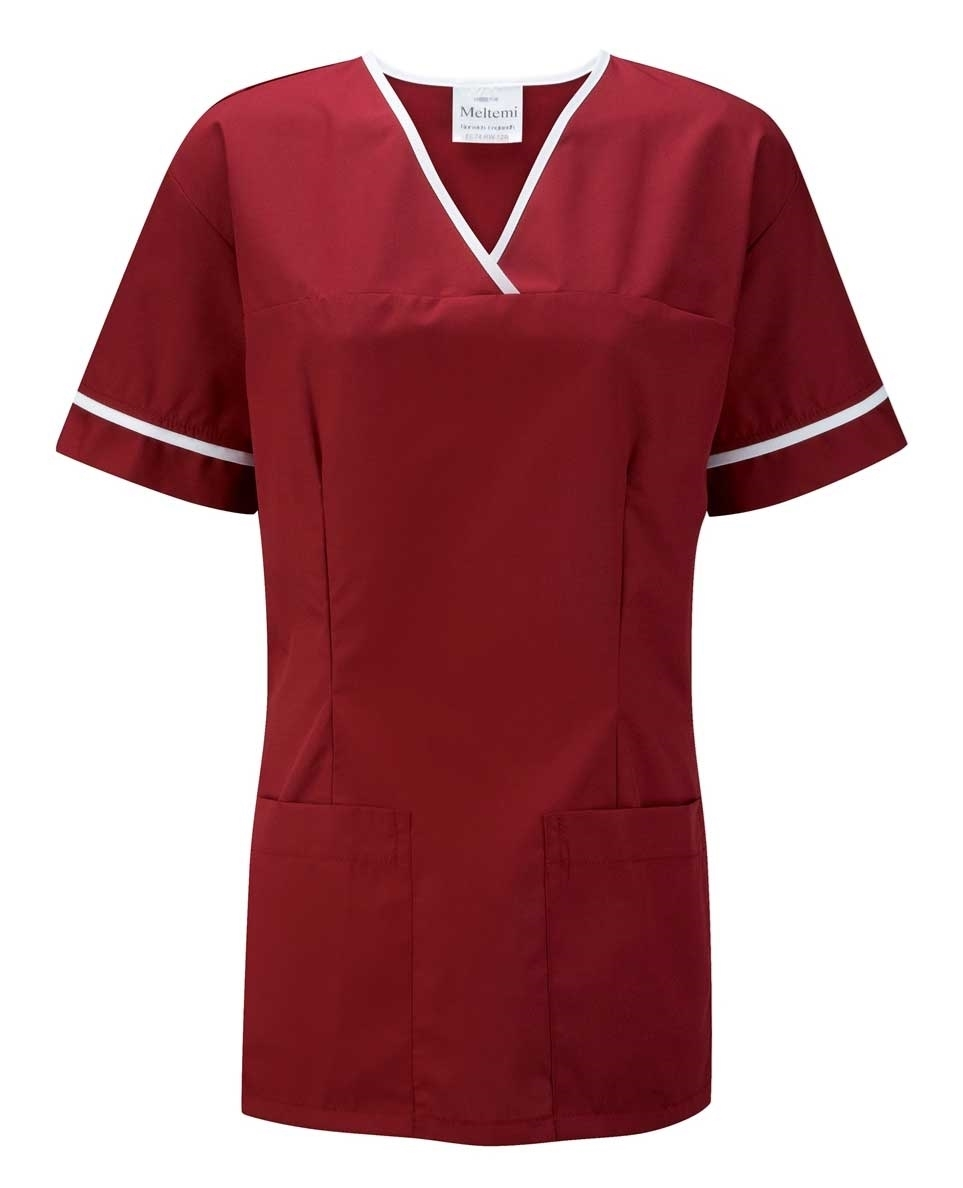 Picture of Female Smart Scrub Tunic - Burgundy/White