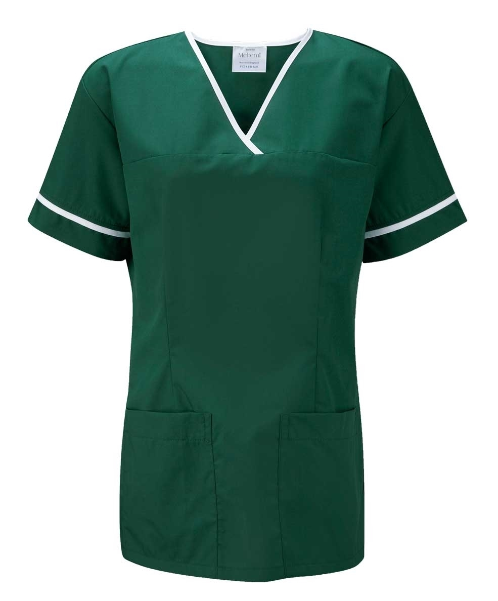 Picture of Female Smart Scrub Tunic - Bottle Green/White