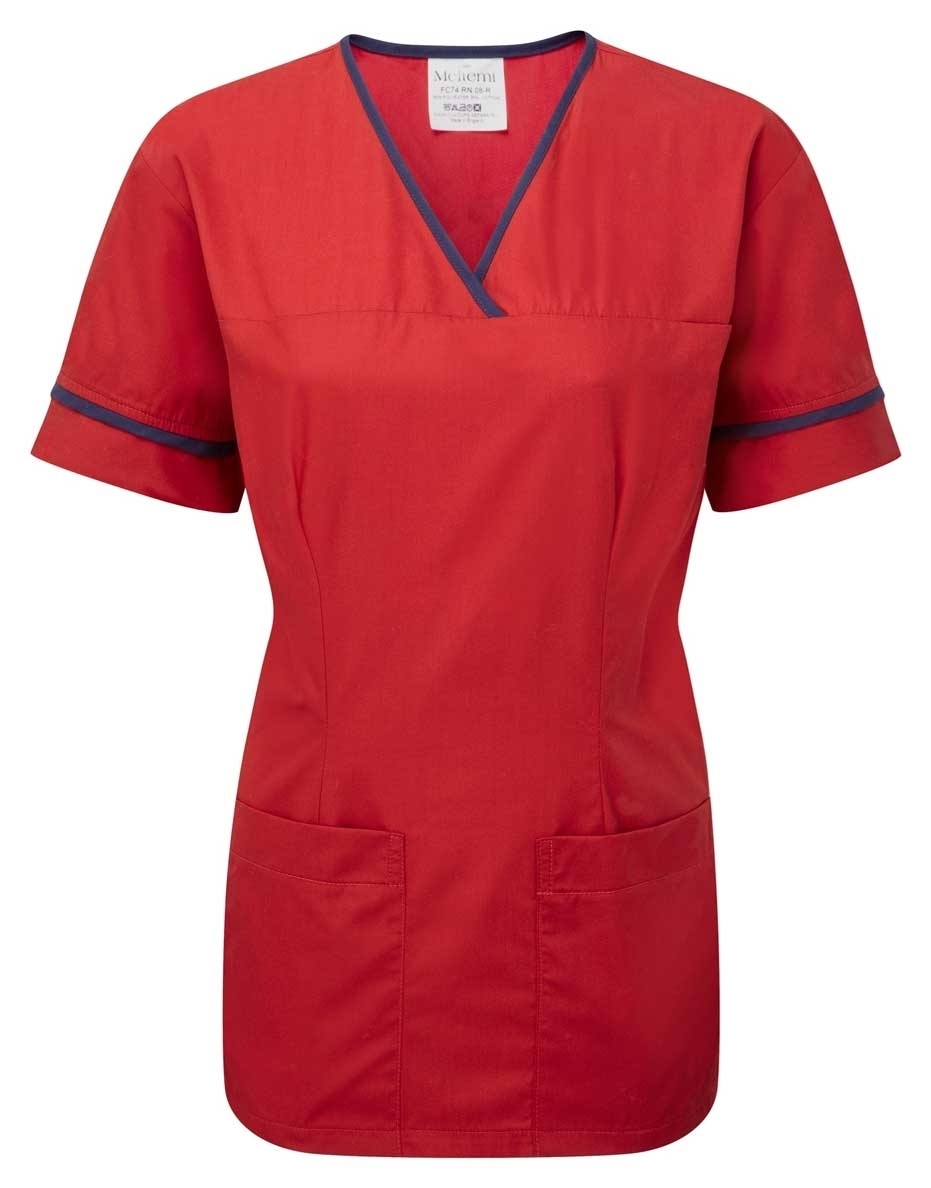 Picture of Female Smart Scrub Tunic - Red/Navy