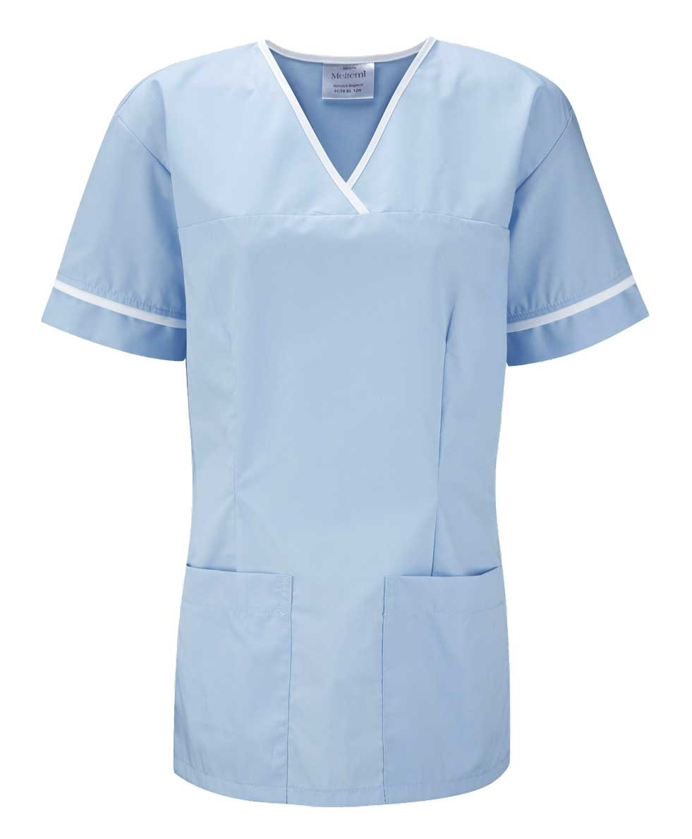 Picture of Female Smart Scrub Tunic - Sky Blue/White