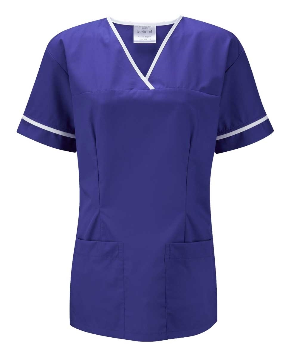 Picture of Female Smart Scrub Tunic - Royal Blue/White