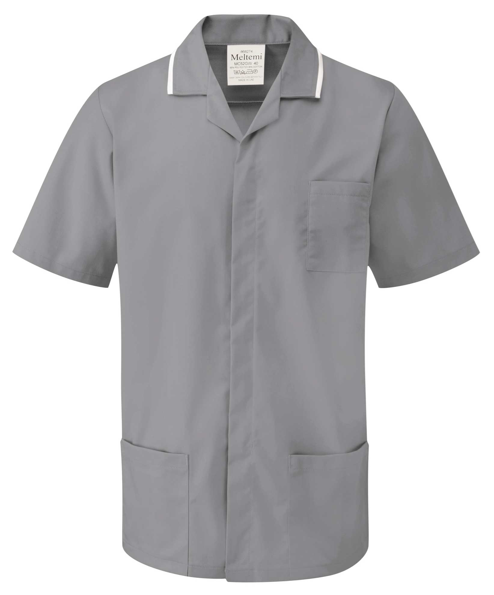 Picture of Advantage Front Fastening Tunic - Hospital Grey/White