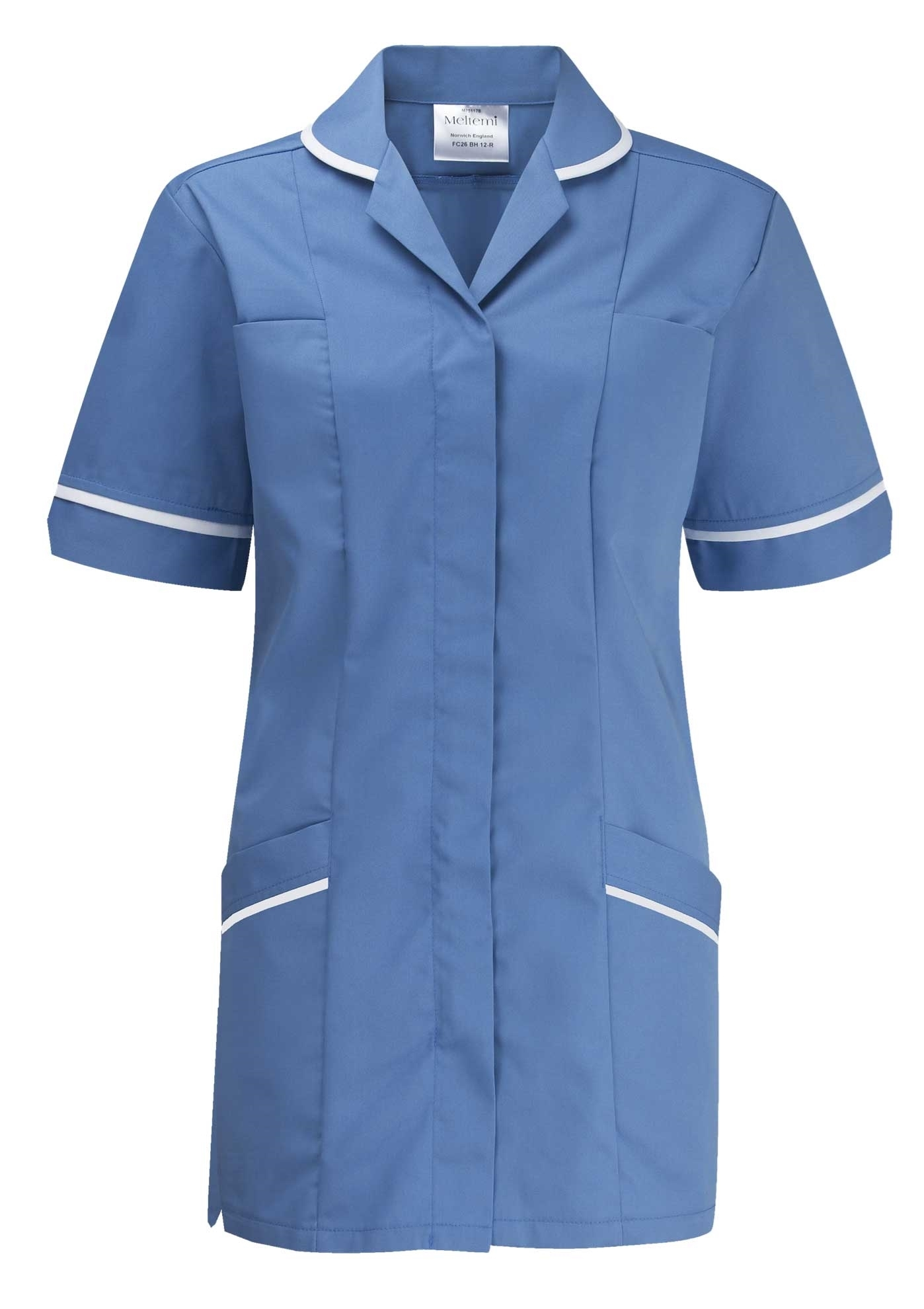Picture of Flexi-Stretch Plain Tunic - Hospital Blue/White