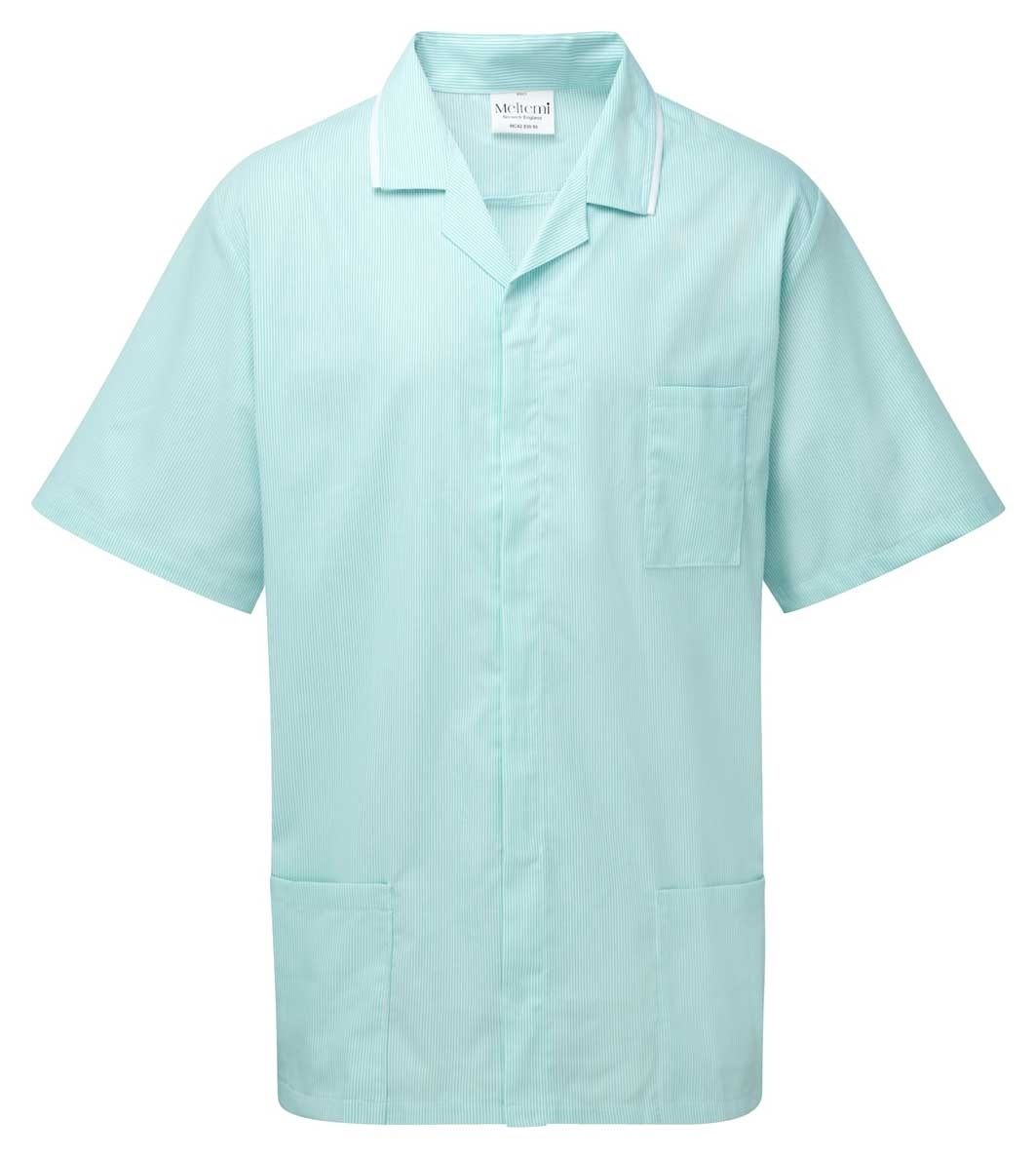 Picture of Fine Stripe Front Fastening Tunic - Green/White