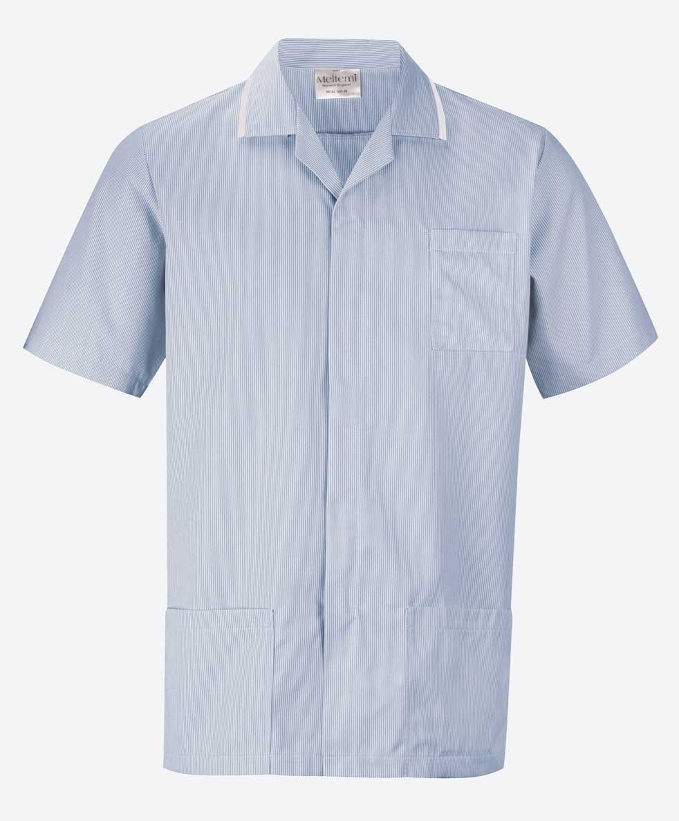 Picture of Fine Stripe Front Fastening Tunic - Blue/White