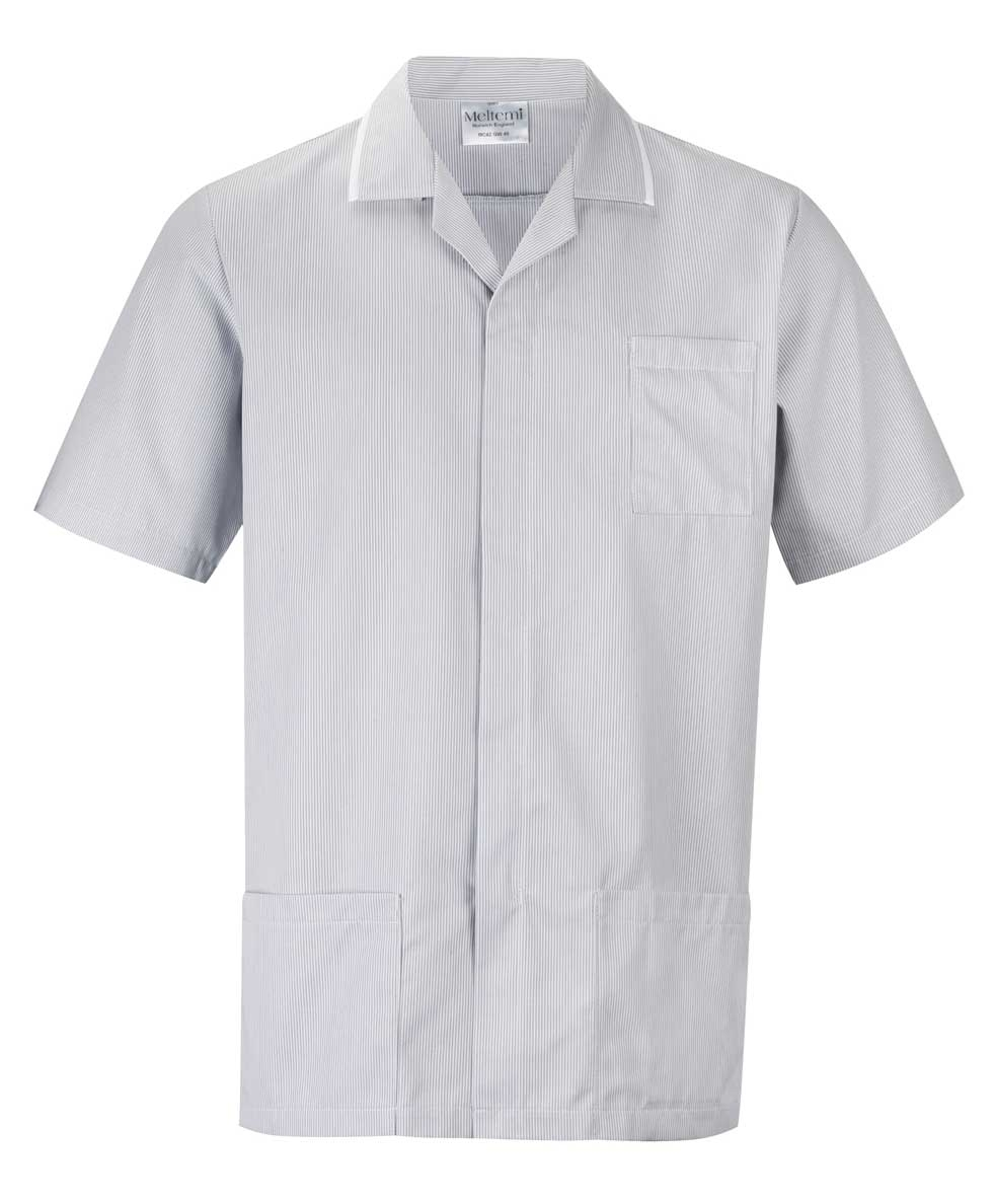 Picture of Fine Stripe Front Fastening Tunic - Grey/White