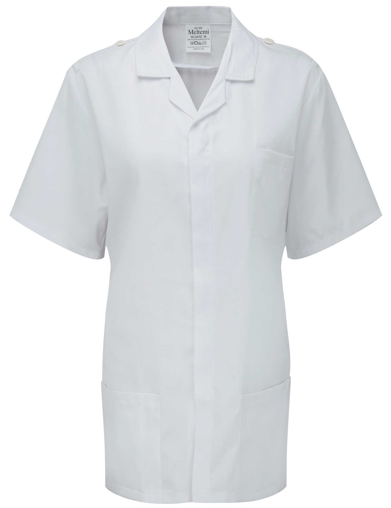 Picture of Advantage Front Fastening Tunic With  Epaulette Bars And Buttons - White