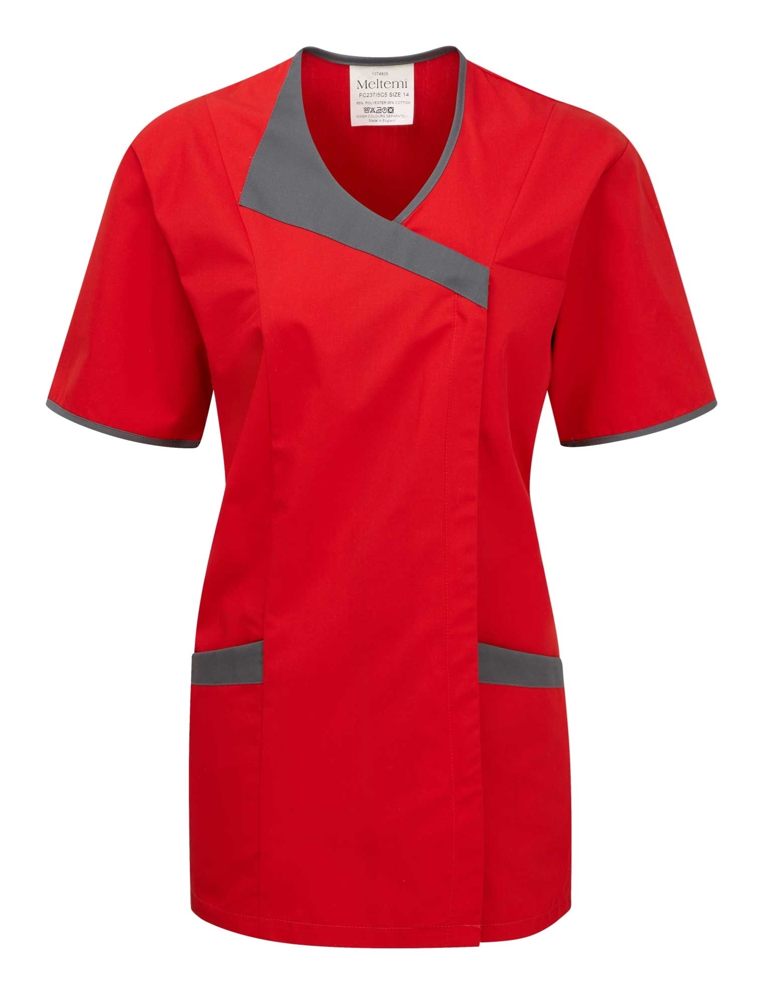 Picture of Asymmetric Tunic - Red With Dark Grey
