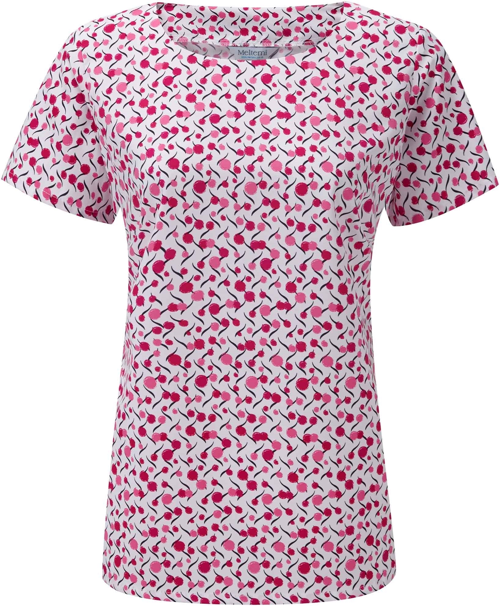 Picture of Round Neck Coolweave Blouse - White/Cerise Chloe Print