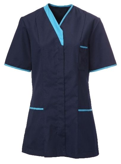 Picture of Contemporary Contrast Female Tunic - Navy/Peacock