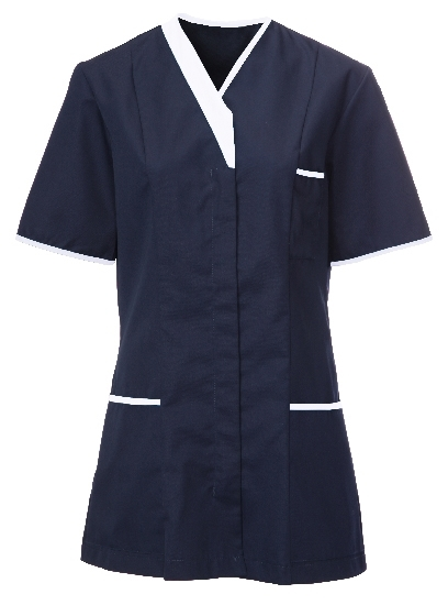 Picture of Contemporary Contrast Female Tunic - Navy/White