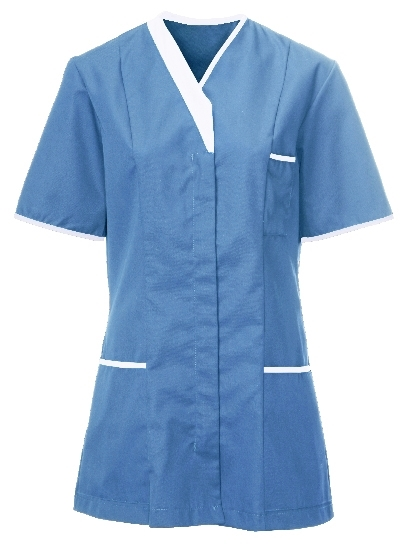 Picture of Contemporary Contrast Female Tunic - Hospital Blue/White