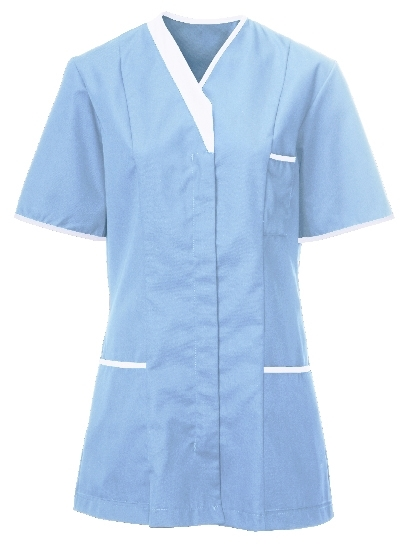 Picture of Contemporary Contrast Female Tunic - Sky Blue/White