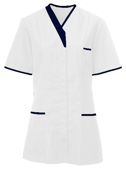 Picture of Contemporary Contrast Female Tunic - White/Navy