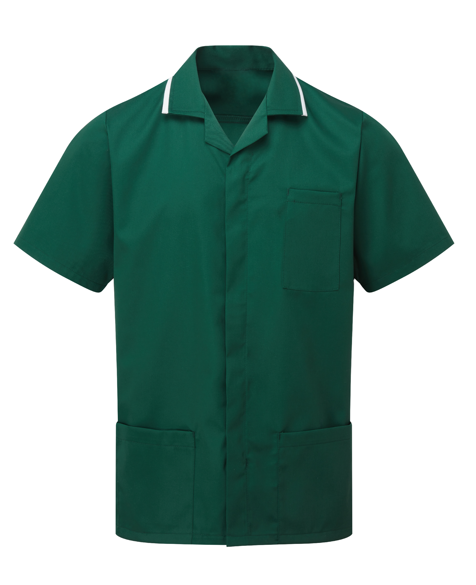 Picture of Advantage Front Fastening Tunic - Bottle Green/White