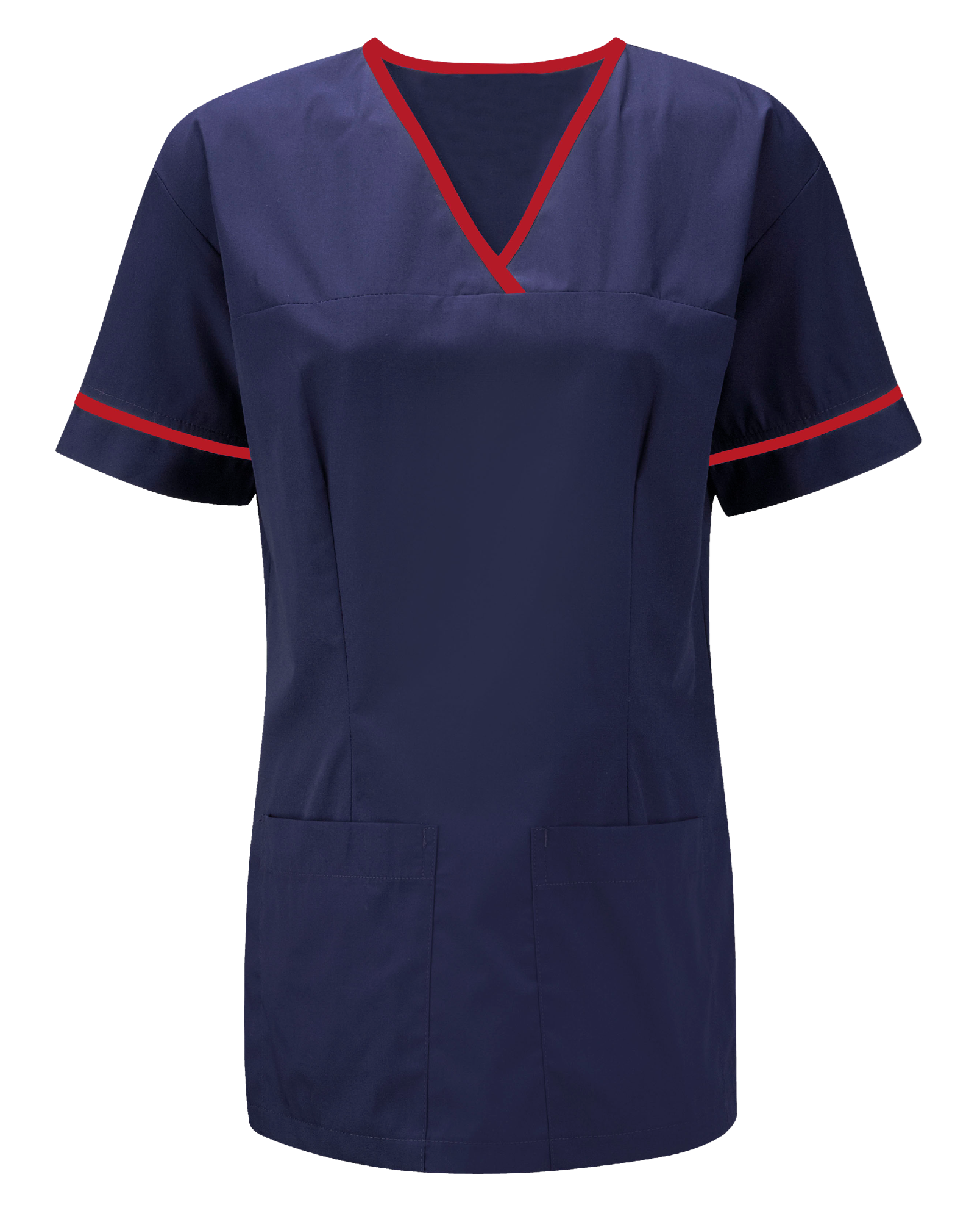 Picture of Female Smart Scrub Tunic - Navy/Red