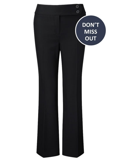 Picture of Easycare Bootcut  Trousers - Black